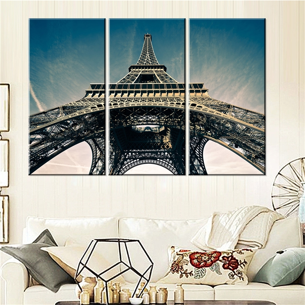 Eiffel Tower Wall Art With Most Current Eiffel Tower Art Picture Oil Painting Home Decor Paris Landscape (View 4 of 15)