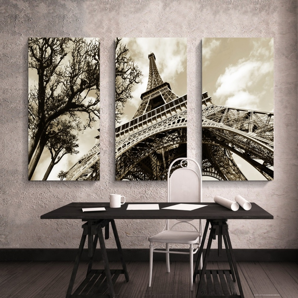 Eiffel Tower Wall Art Within Widely Used Wall Art Canvas Painting Wall Pictures For Living Room Quadros (View 6 of 15)