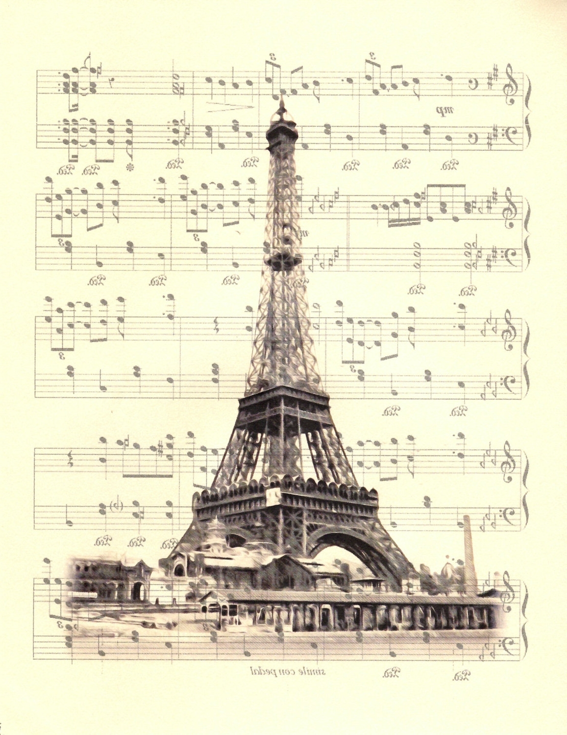 Eiffel Tower Wall Hanging Art Within Most Popular Eiffel Tower, La Vie En Rose, Edith Piaf Sheet Music Art, Poster (View 8 of 15)