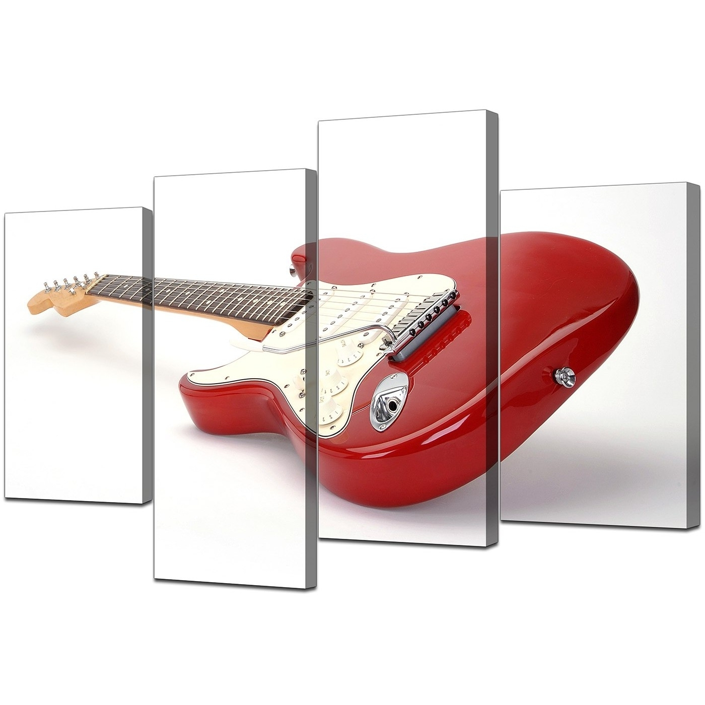 Electric Guitar Canvas Wall Art In Red – For Bedroom Intended For Newest Guitar Canvas Wall Art (Gallery 4 of 15)