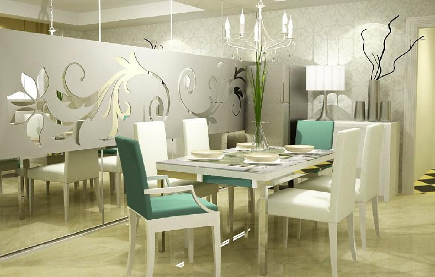 Elegant Dining Room With Frosted Glass Sticker For (View 13 of 15)