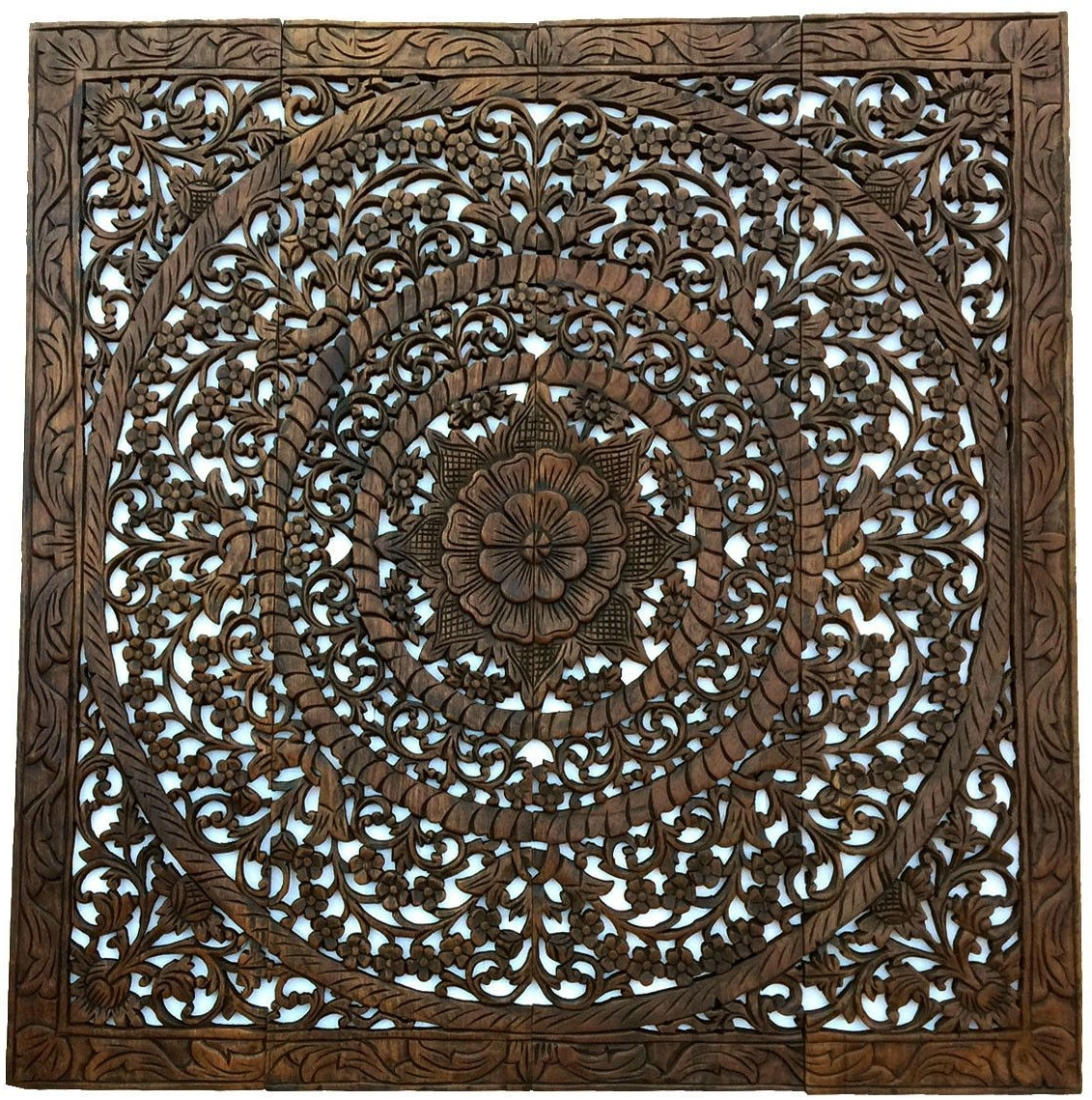 Elegant Wood Carved Wall Plaque (View 9 of 15)