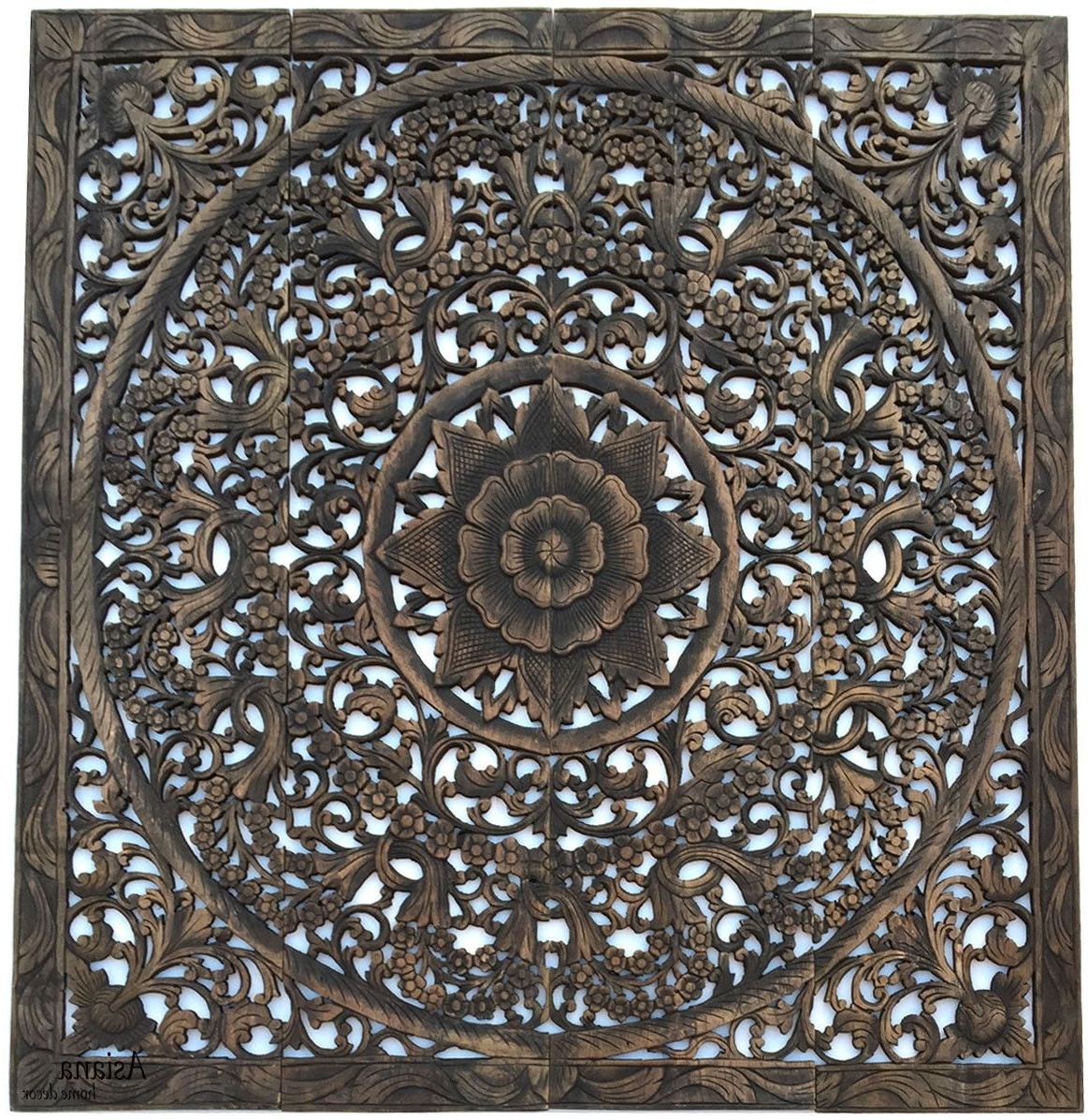 Elegant Wood Carved Wall Plaque. Wood Carved Floral Wall Art Regarding Most Current Balinese Wall Art (Gallery 9 of 15)