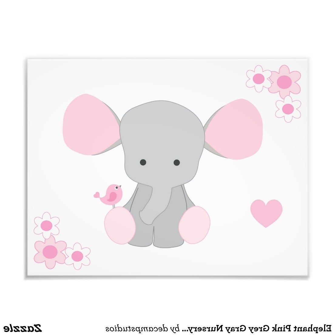Elephant Pink Grey Gray Nursery Baby Girl Wall Art (View 5 of 15)