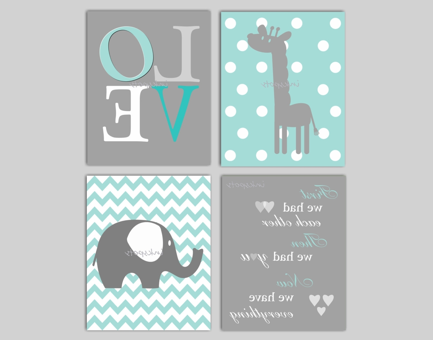 Elephant Wall Art For Nursery Within Well Known Baby Boy Nursery Art Chevron Elephant Nursery Decor Giraffe (Gallery 1 of 15)