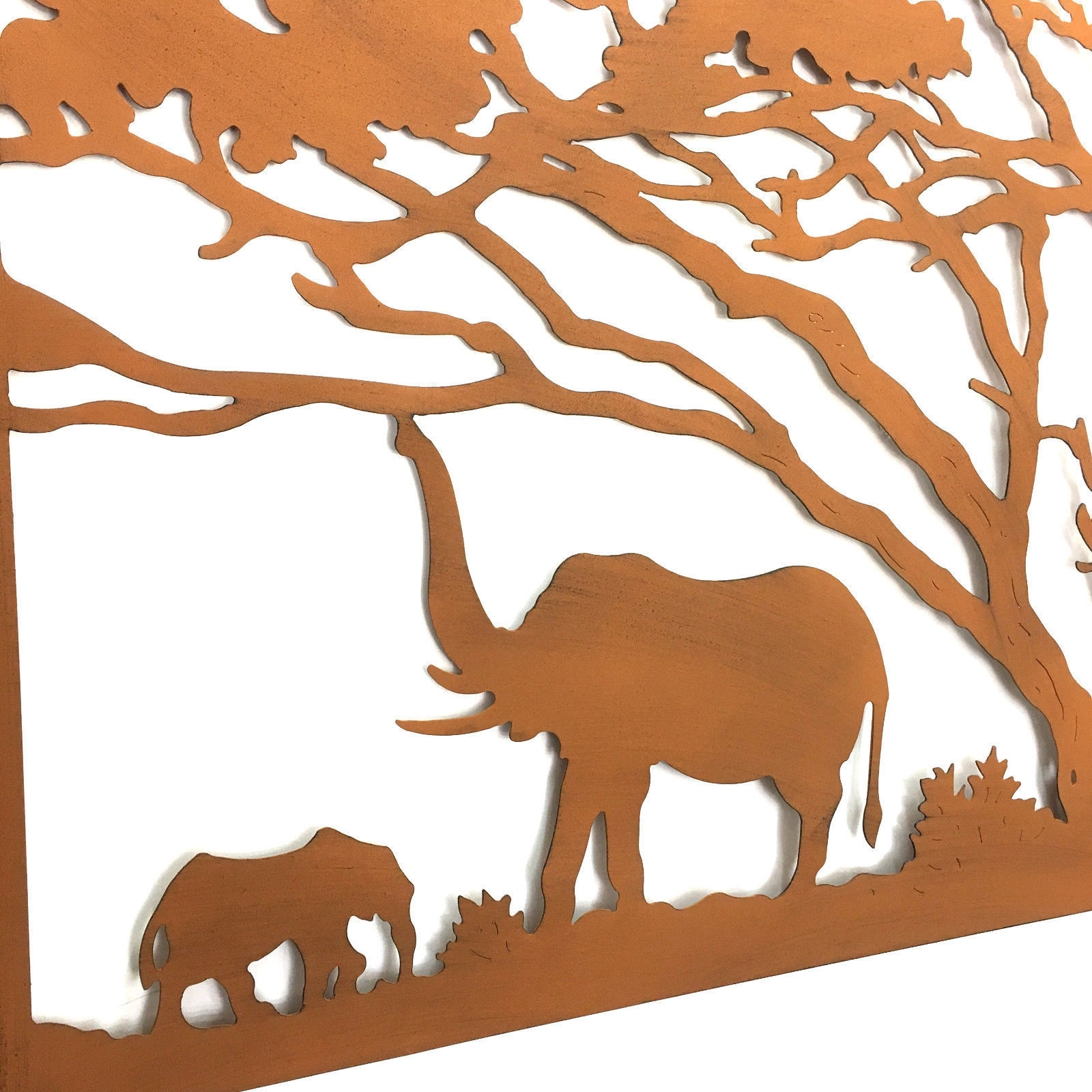 Elephants Under The Trees Lasercut Metal Wall Art 123Cm In Most Current African Metal Wall Art (Gallery 3 of 15)