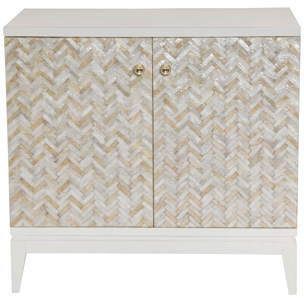 Eli Coastal Beach Herringbone Capiz Shell 2 Door Chest Cabinet Regarding Favorite Capiz Shell Wall Art (View 10 of 15)