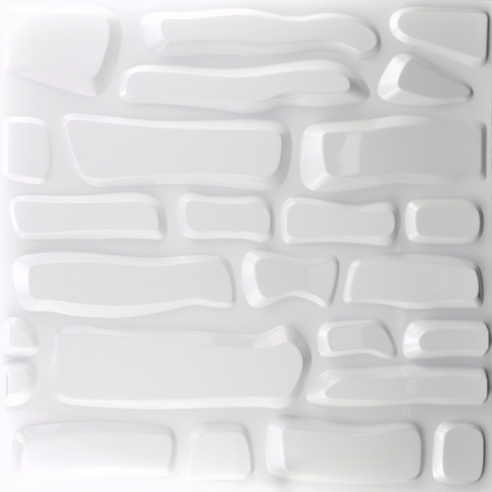 Embossed 3D Wall Panels Textured Design Art Pack Of 12 Tiles 32 Sq For Famous White 3D Wall Art (View 5 of 15)