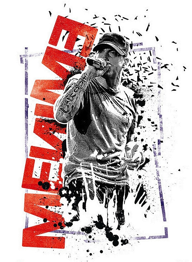Eminem Wall Art Inside Most Popular Free Shipping Canvas Poster Custom Eminem Graffiti Music Star (View 4 of 15)