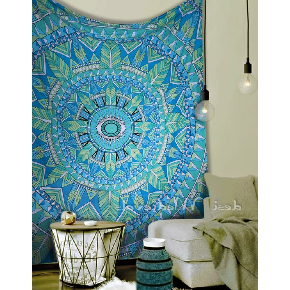 Exclusive Green Sky Blue Mandala Flower Art Design Wall Decor Tapestry Pertaining To Popular Exclusive Wall Art (View 4 of 15)