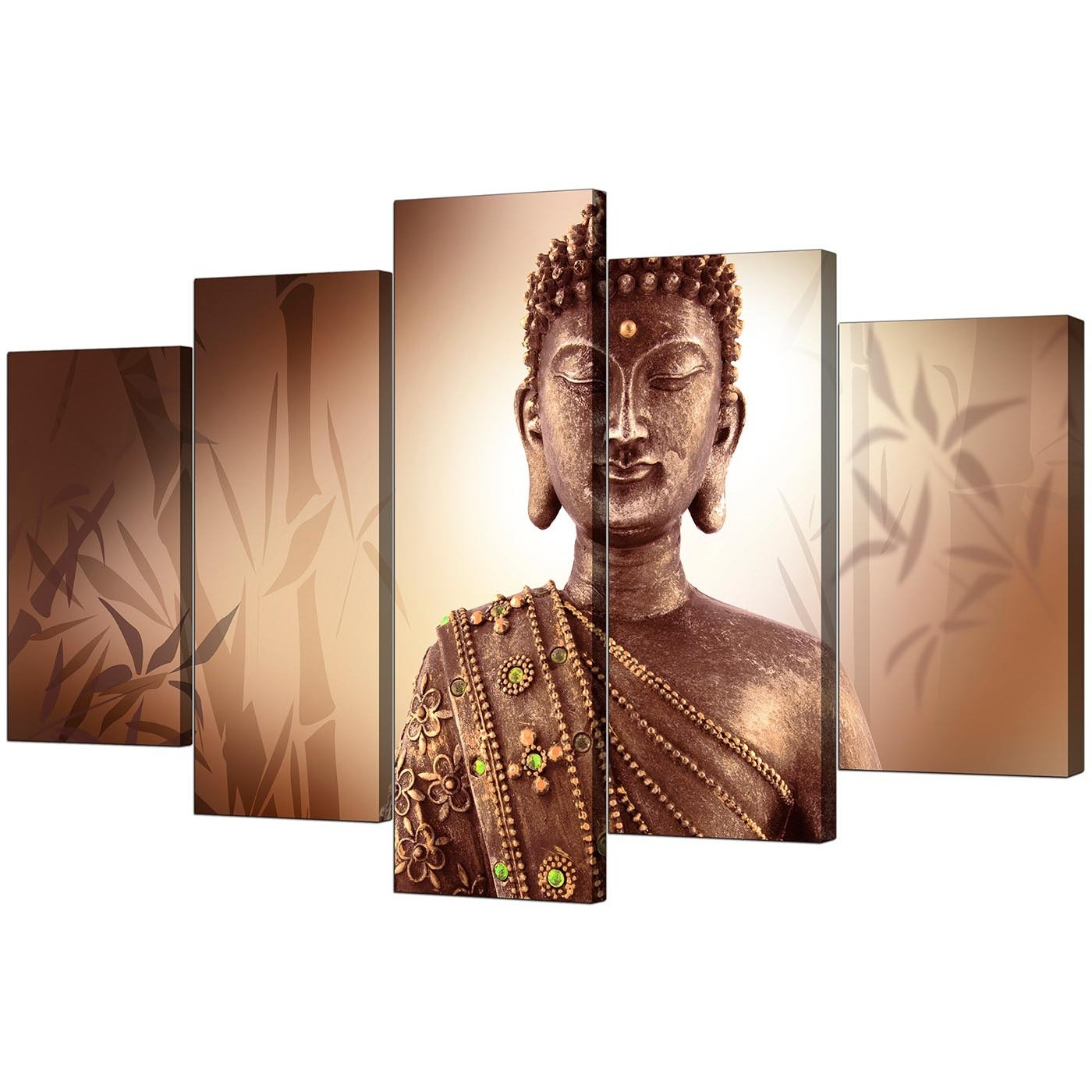 Extra Large Buddha Canvas Prints Uk Five Panel In Brown In Popular Large Buddha Wall Art (View 3 of 15)