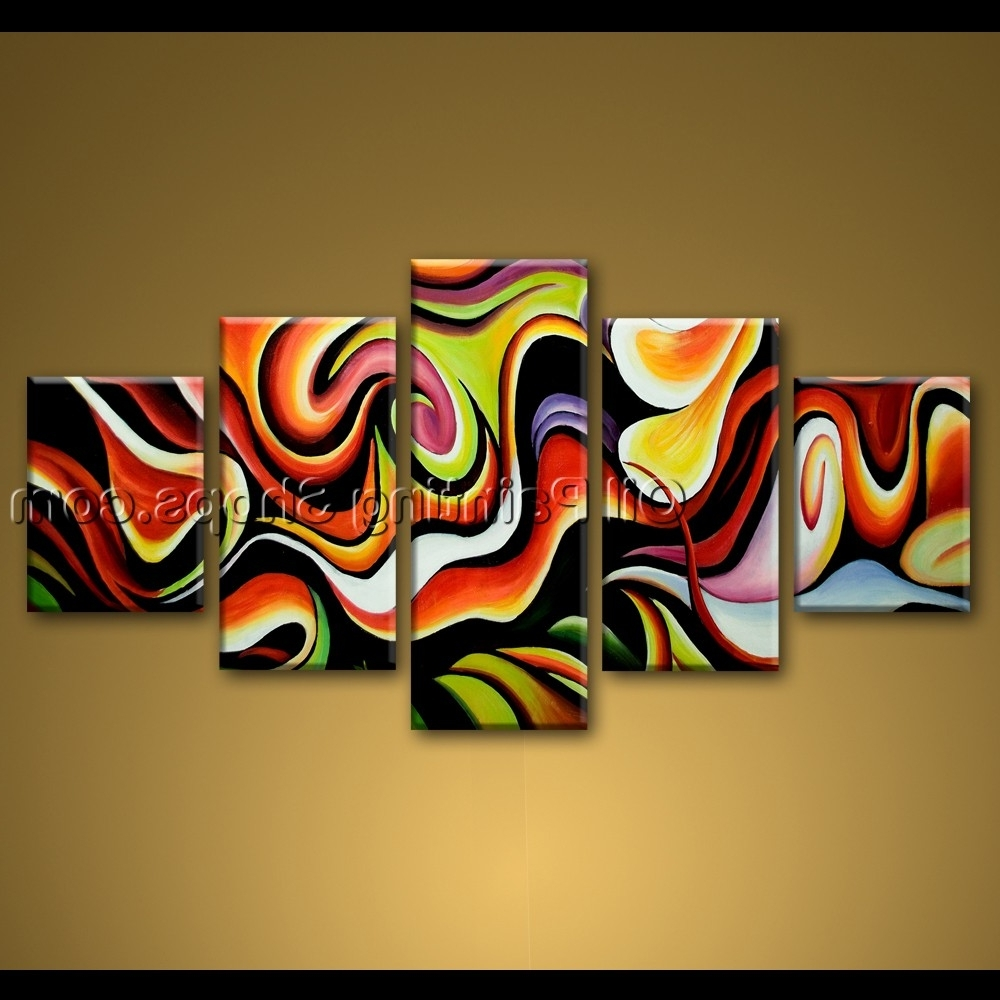 Extra Large Framed Wall Art Inside Well Known Large Wall Art Colorful Abstract Oil Painting On Canvas Modern Framed (View 13 of 15)