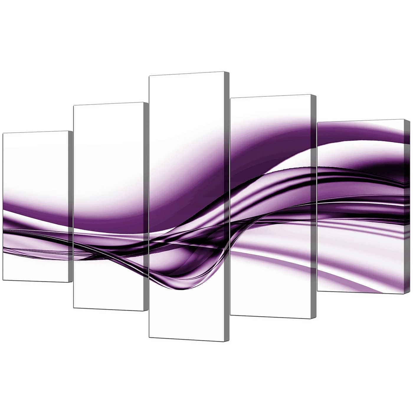 Extra Large Purple Abstract Canvas Prints – 5 Piece With Regard To Most Recently Released Extra Large Abstract Wall Art (View 5 of 15)