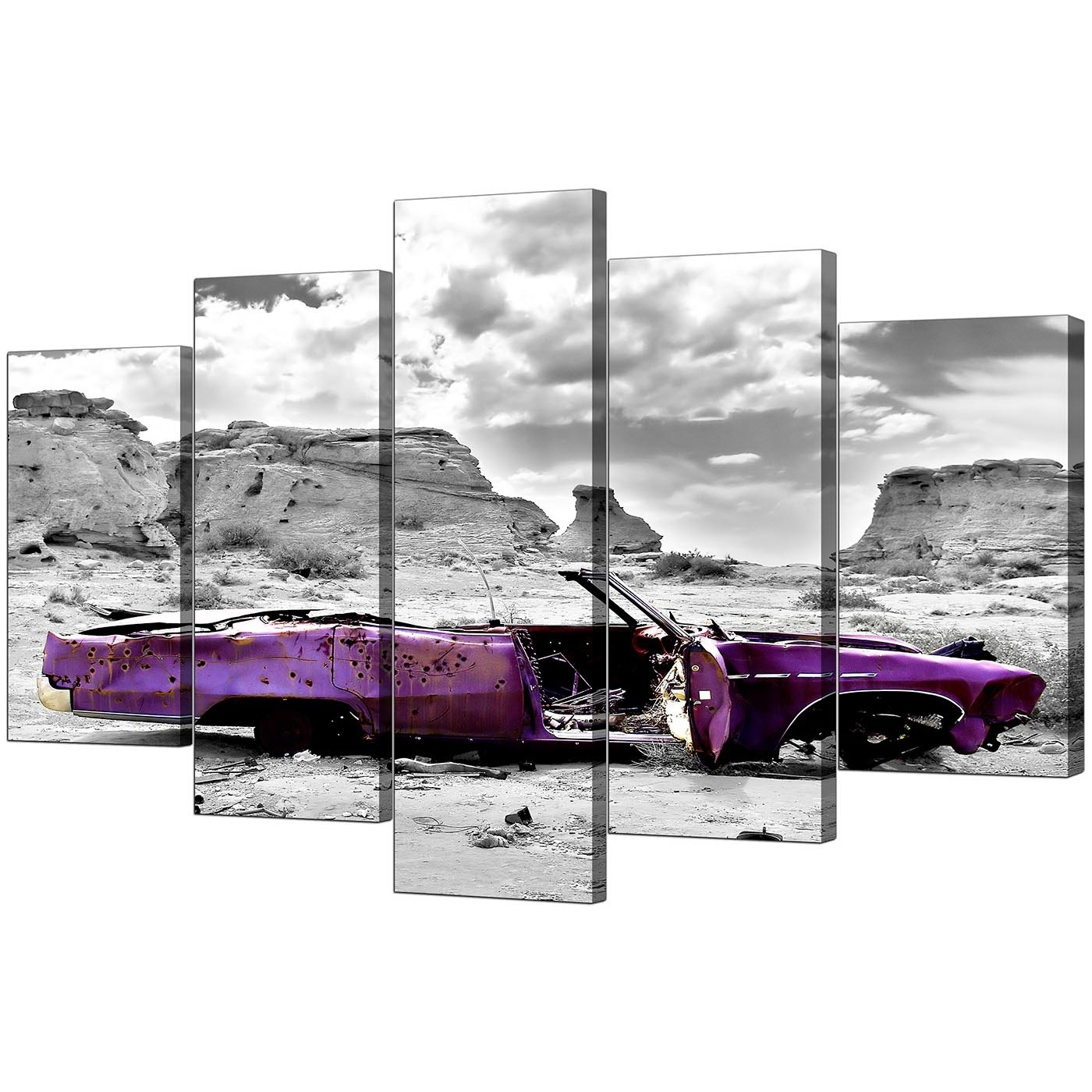 Extra Large Purple Car Canvas Prints Uk 5 Piece In Black & White Inside Famous Plum Coloured Wall Art (View 4 of 15)