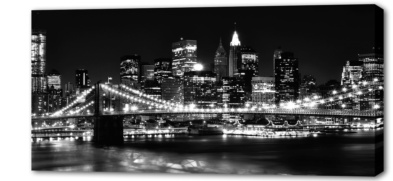 Extra Large Skyline City Canvas Picture New York Black And White For 2017 New York Skyline Canvas Black And White Wall Art (Gallery 8 of 15)