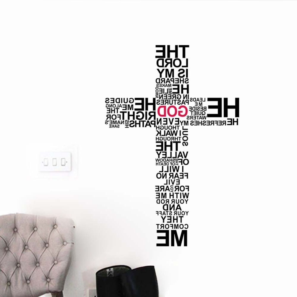Factory Price Cartoon Typography Christian God Cross Wall Art Throughout Most Popular 3D Wall Art Words (View 8 of 15)