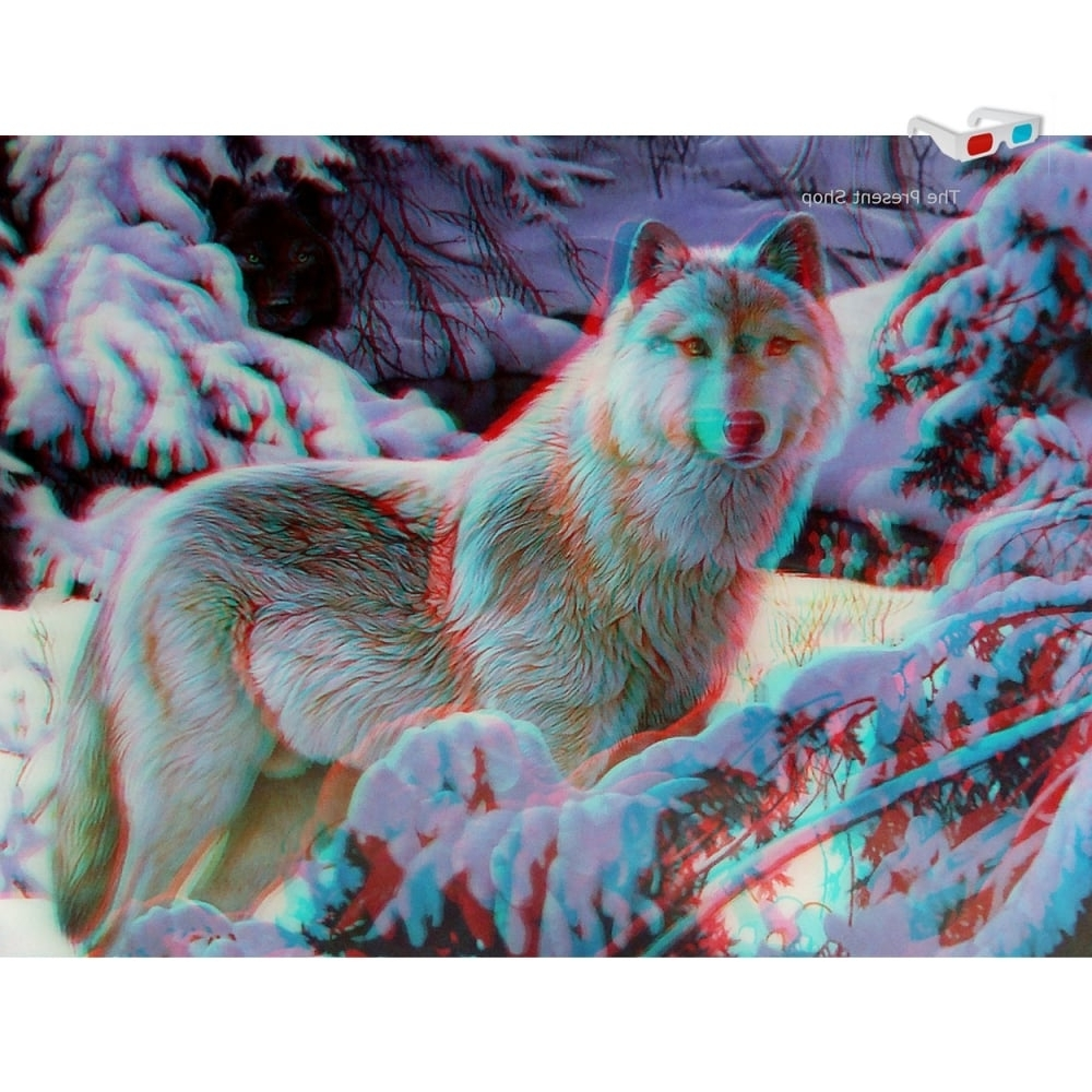Faithful Friends Collectables Lenticular 3D Lone Wolf In Snow 1 With Regard To Favorite Wolf 3D Wall Art (View 5 of 15)