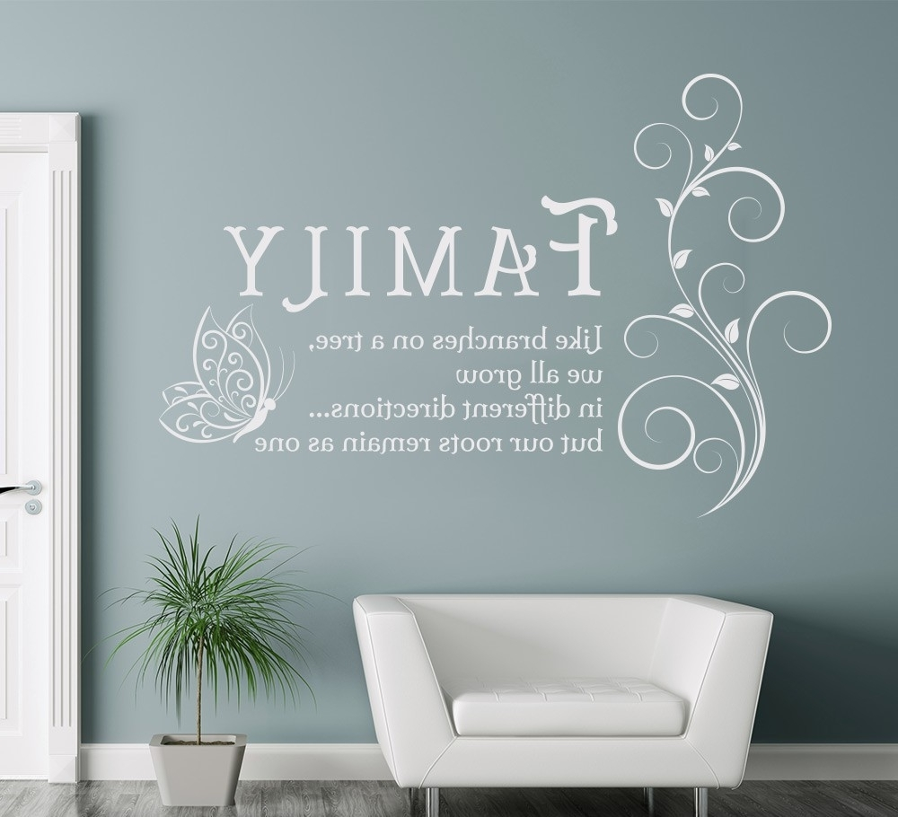 Family Like Branches Quotes Butterfly Vinyl Wall Art Sticker Regarding Recent Butterflies Wall Art Stickers (View 9 of 15)
