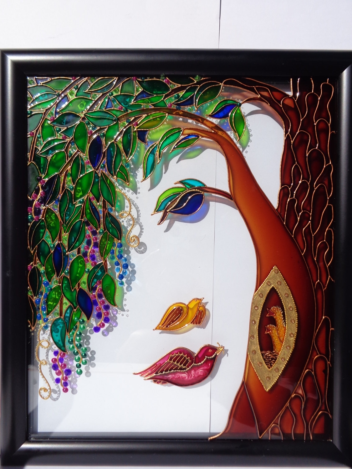 Family Tree Art Glass Painting Wall Decor Tree Of Life Painting Inside 2018 Fused Glass Wall Artwork (View 1 of 15)