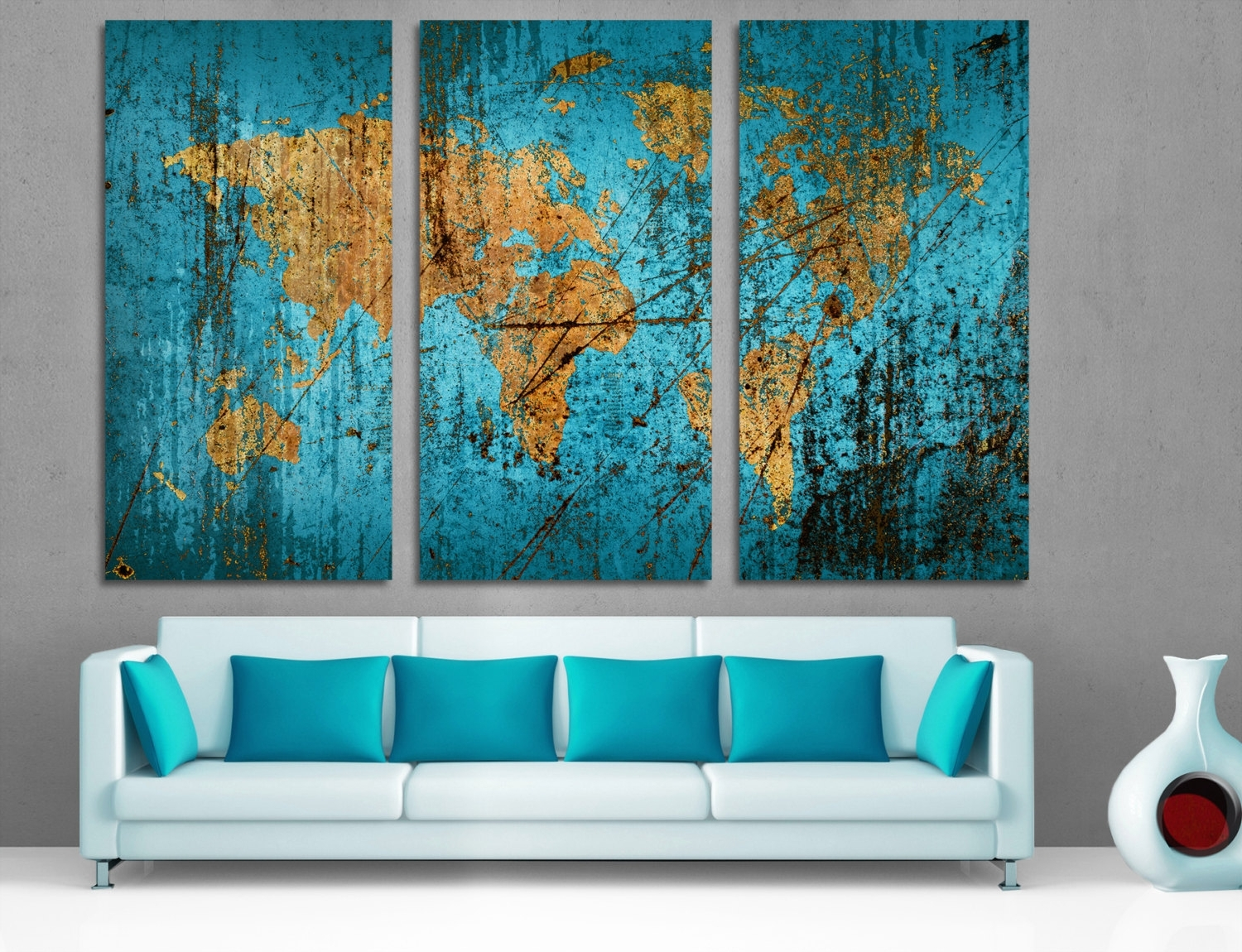 Famous 3 Panel Split Canvas Dark Blue World Map Wall Art Canvas (View 5 of 15)