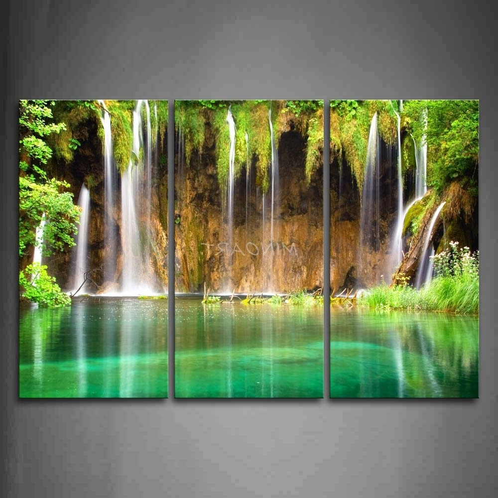 Famous 3 Piece Wall Art Painting Waterfall From Small Cliff Plant Green Inside Waterfall Wall Art (View 4 of 15)
