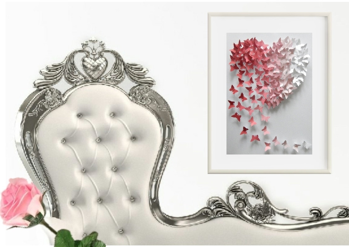 Famous 3D Butterfly Framed Wall Art Pertaining To Wedding 3D Framed Personalised Butterfly Pink Ombre Heart Wall Art (View 9 of 15)