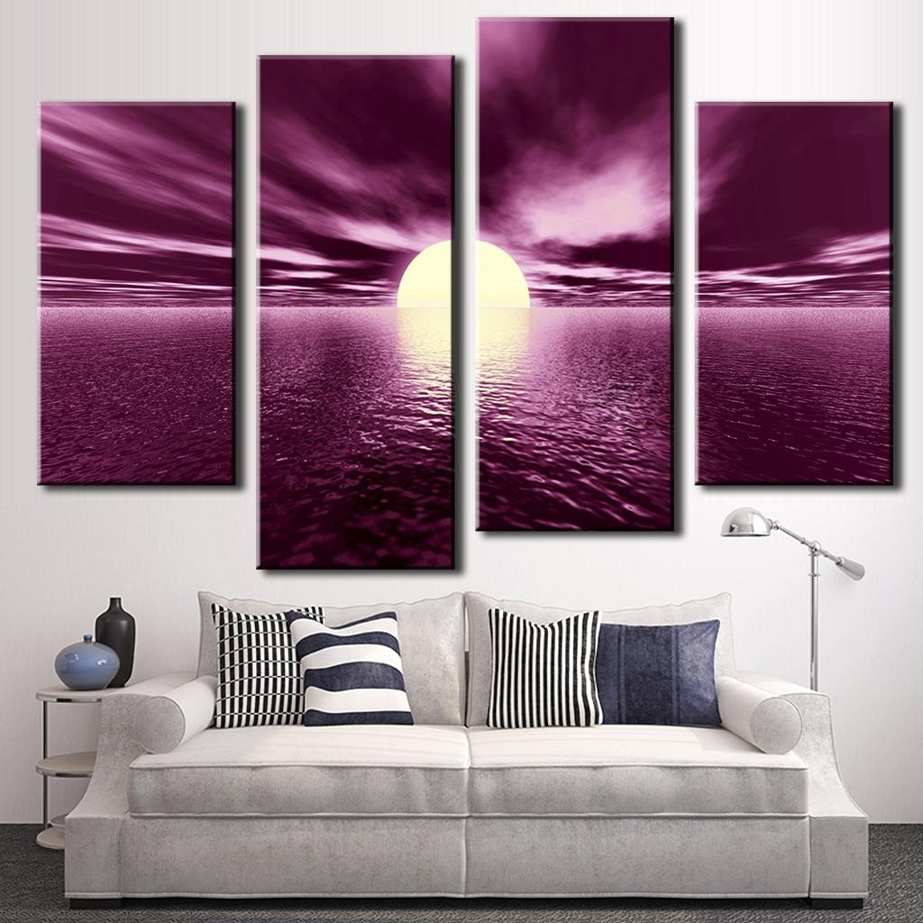 Famous 4 Pcs/ Set Pop Landscape Purple Wall Art Painting Prints On Canvas With Purple Wall Art (View 3 of 15)