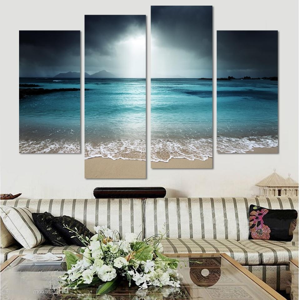 Famous 4 Piece Wall Art Intended For Online Cheap Seaside Castle Landscape Canvas Print Painting Home (View 8 of 15)