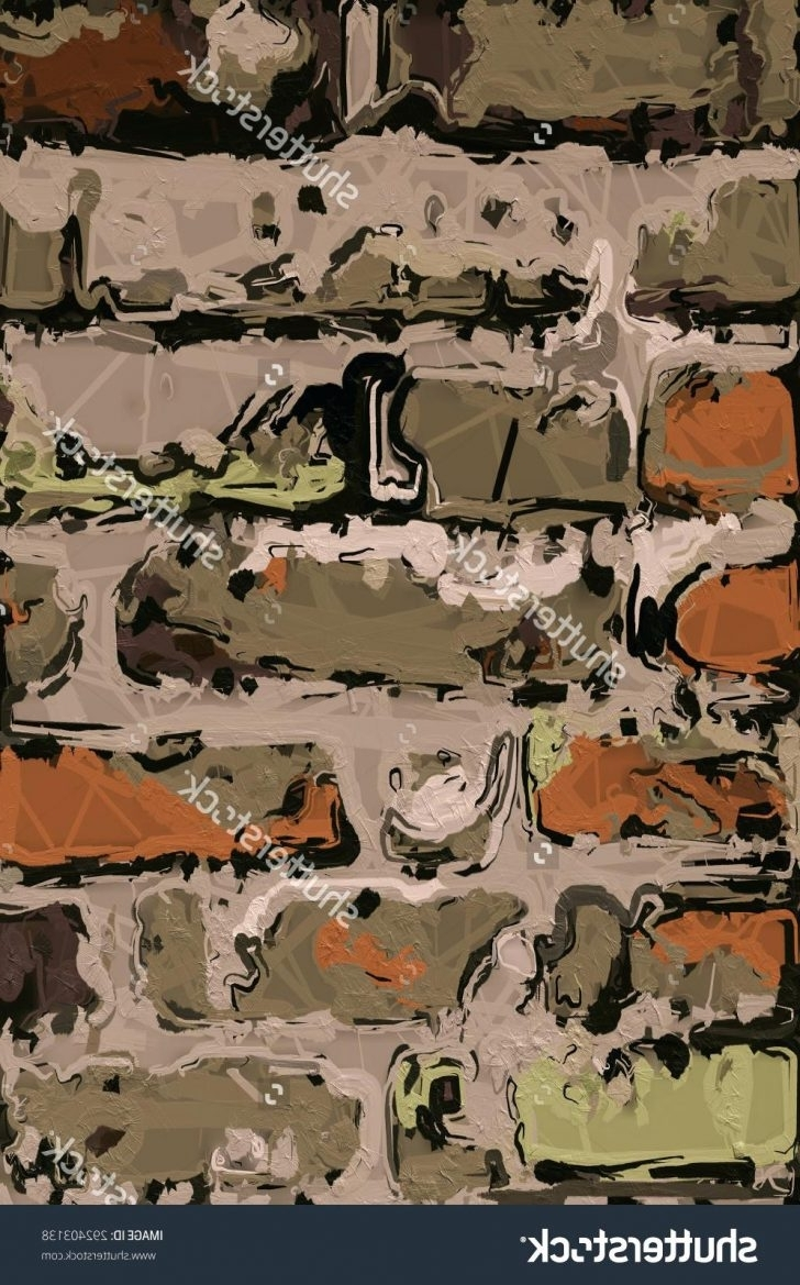Famous Abstract Digital Art Painting Of Old Brick Wallpainting Camouflage Inside Camouflage Wall Art (View 7 of 15)