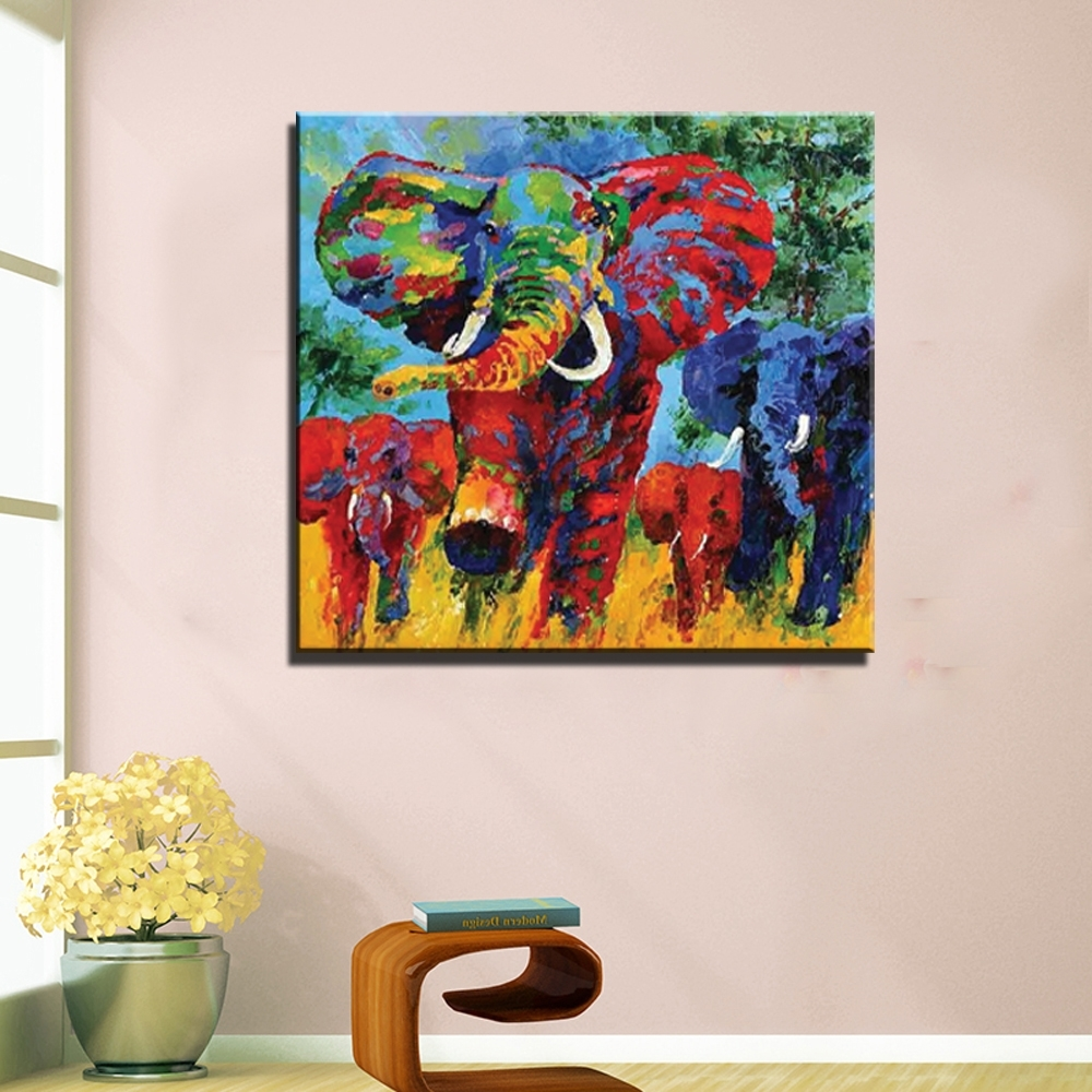 Famous Abstract Elephant Wall Art Within Abstract Modern Canvas Art Elephant Picture Painting Hand Painted (View 8 of 15)