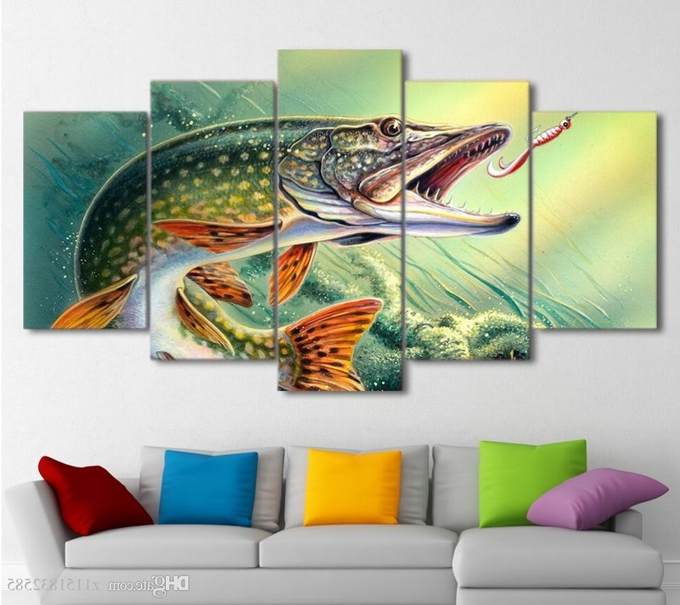Famous Abstract Fish Wall Art Pertaining To Canvas Art Fishing Hooked Pike Fish Canvas Painting Wall Pictures (View 5 of 15)