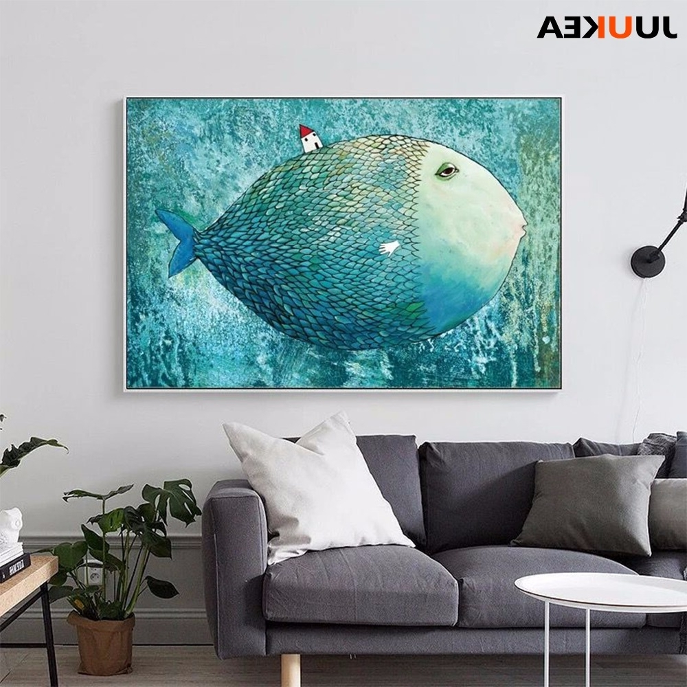 Famous Abstract Fish Wall Art With Regard To Nordic Canvas Painting Abstract Fish Wall Art Painting Canvas (View 9 of 15)