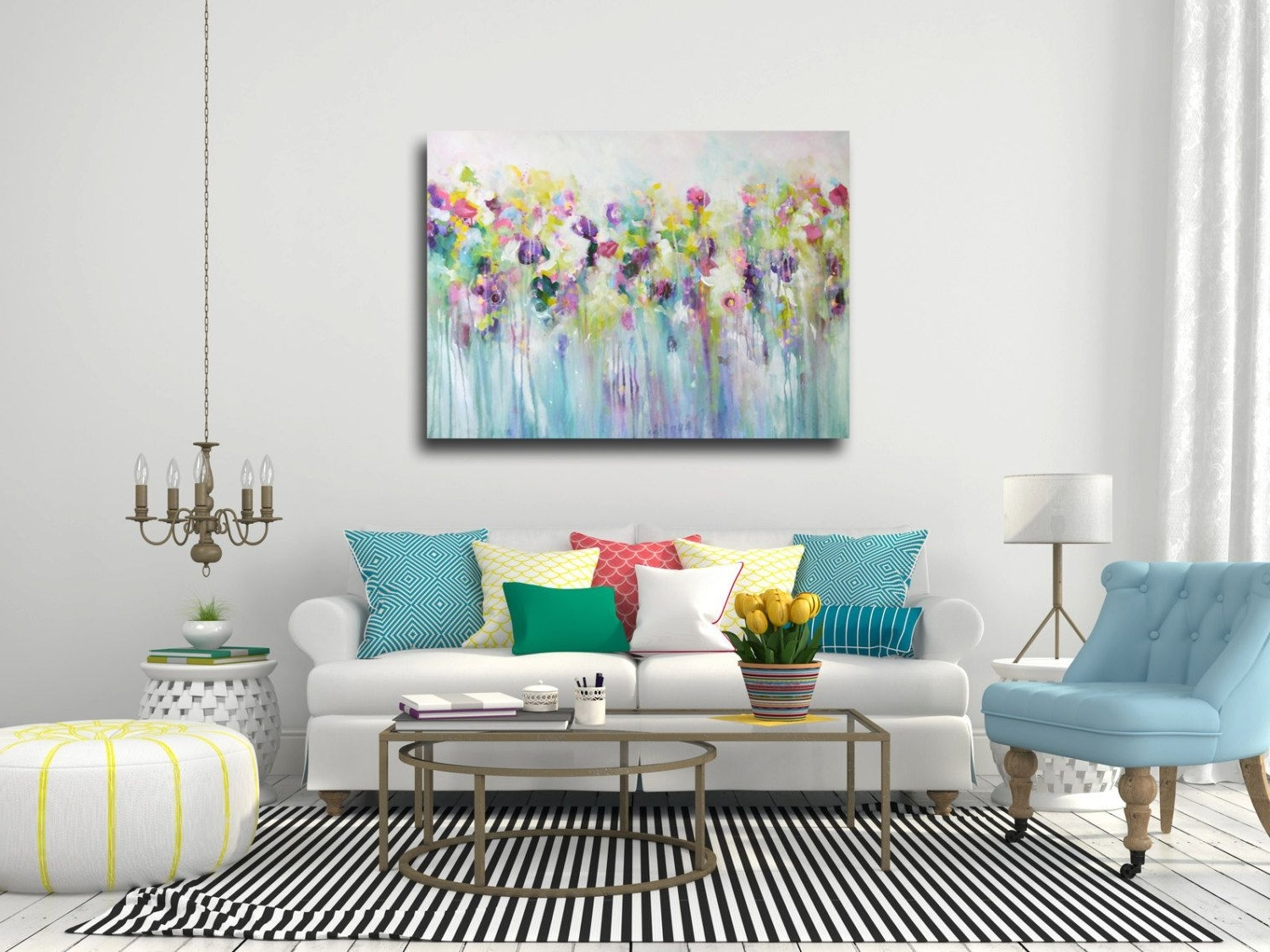 Famous Abstract Floral Canvas Wall Art Intended For Large Wall Art, Canvas Art, Abstract Floral Canvas Print, Giclee (View 6 of 15)