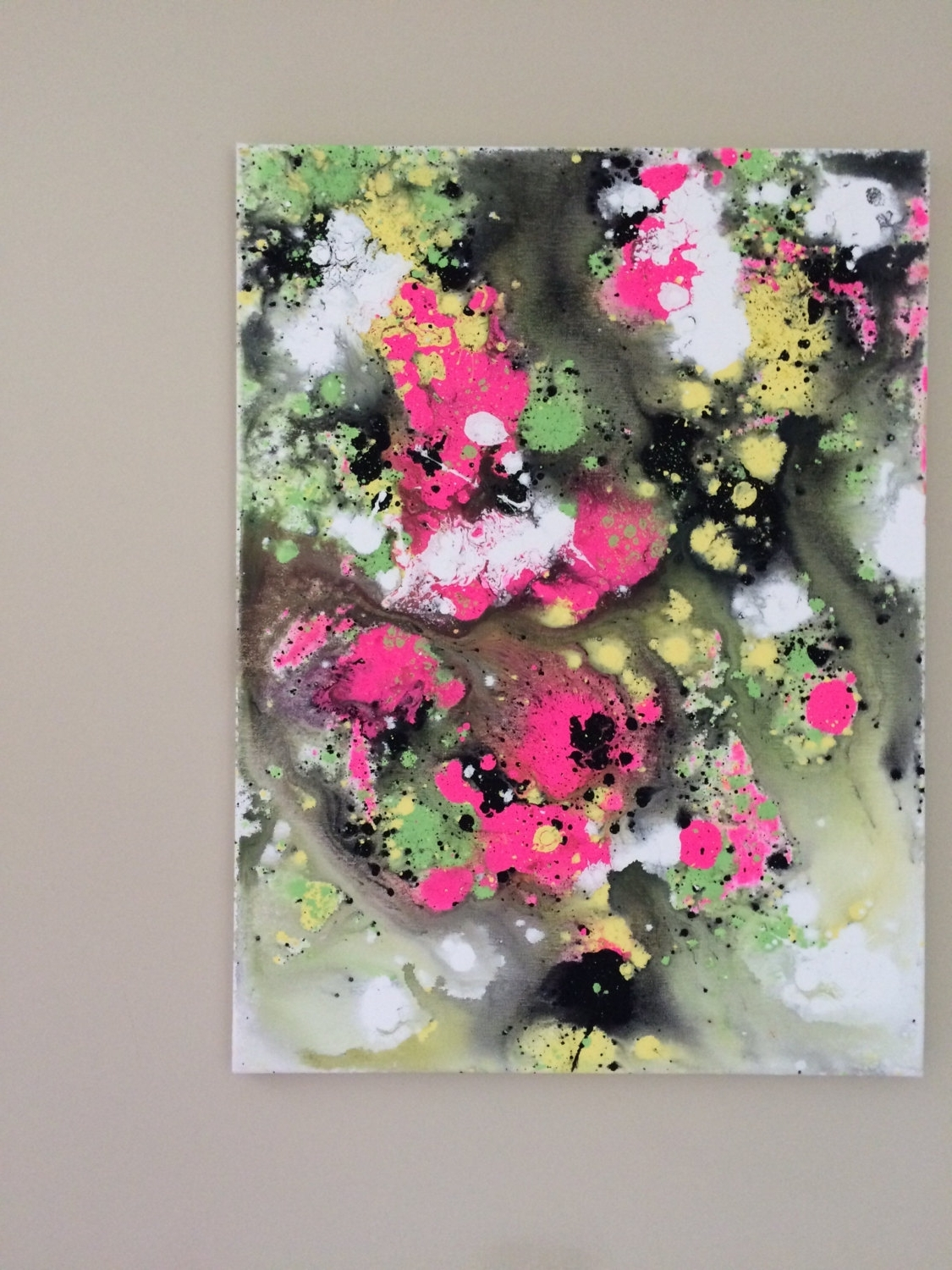 Famous Abstract Neon Wall Art Regarding Abstract Neon Art Fluid Painting Yellow Pink Art Flow Painting (View 8 of 15)