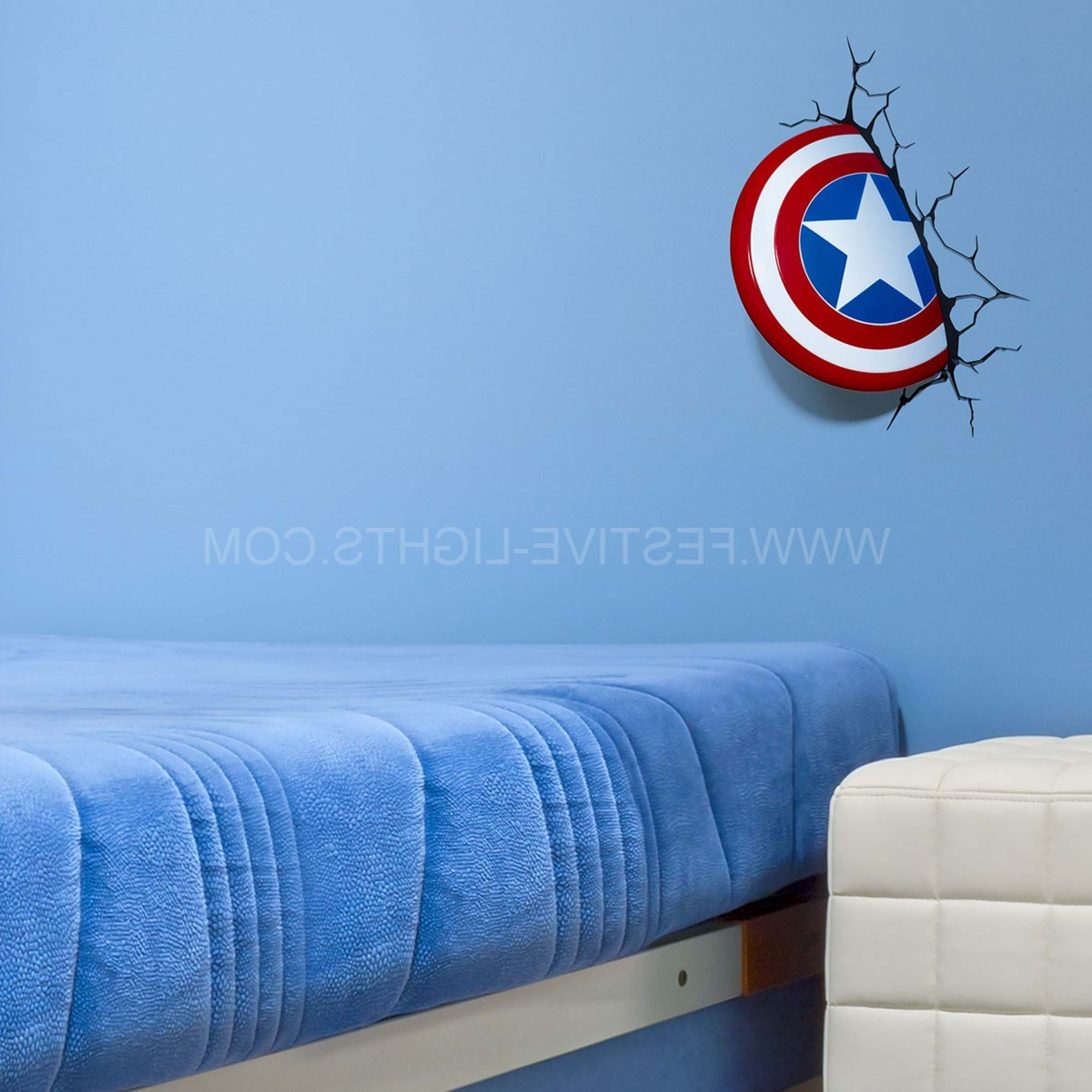 Famous America Shield 3d Led Battery Wall Art Night Light With Regard To 3d Wall Art Captain America Night Light (View 10 of 15)