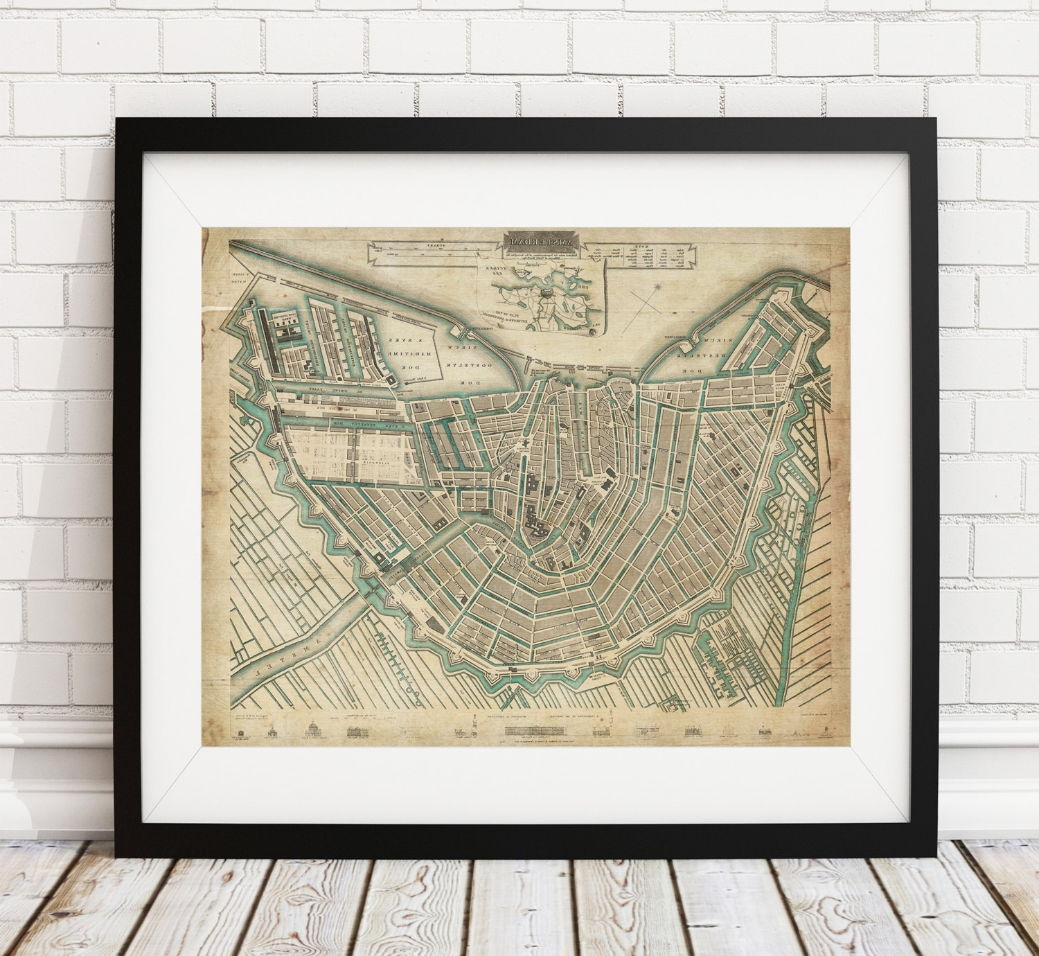 Famous Antique Map Wall Art For Amsterdam Map Print, Vintage Map Art, Antique Map, Wall Art (View 6 of 15)