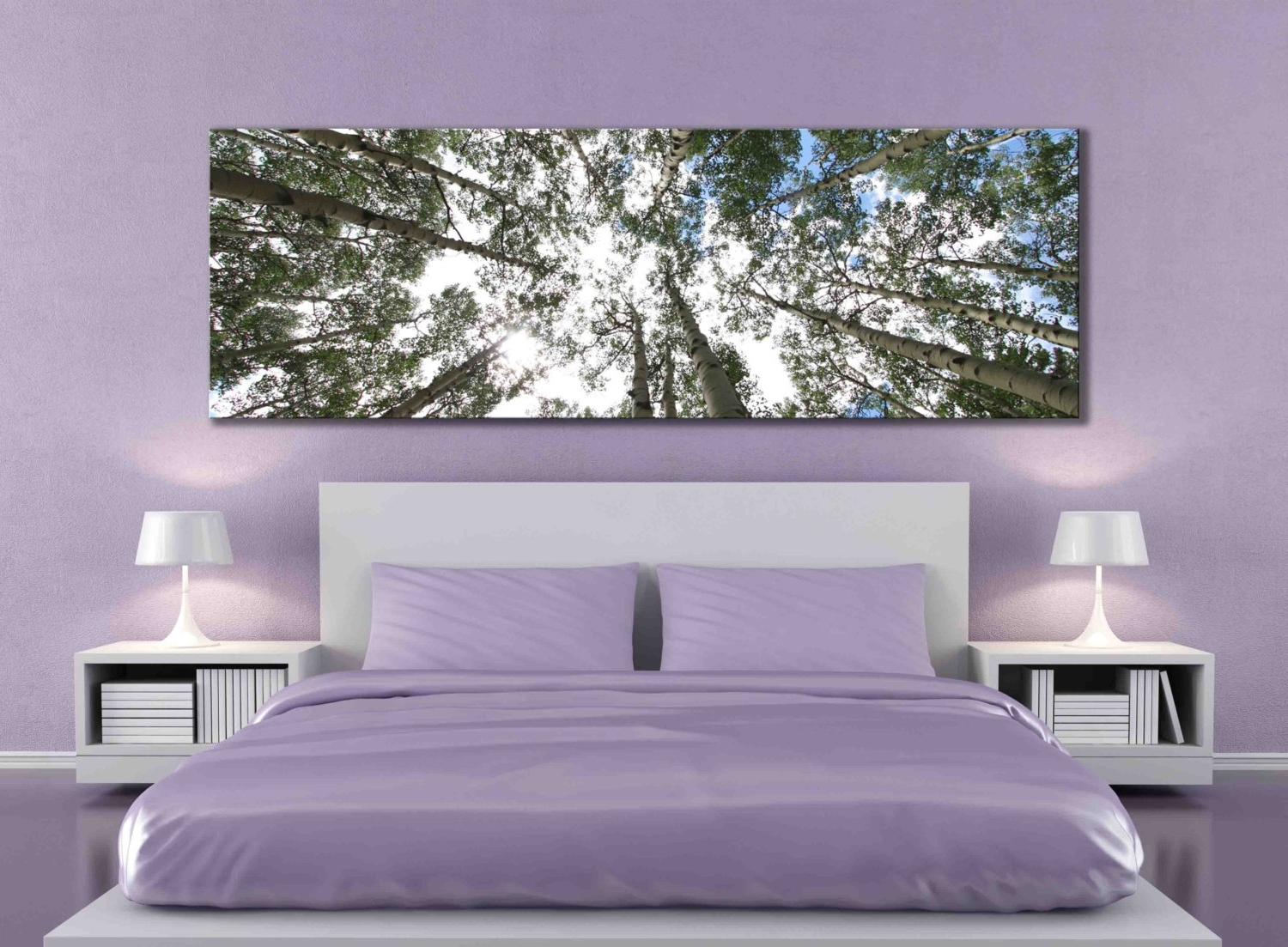 Famous Big Aspen Tree Photograph Large Panoramic Canvas Print, Nature Within Wall Art Over Bed (View 2 of 15)