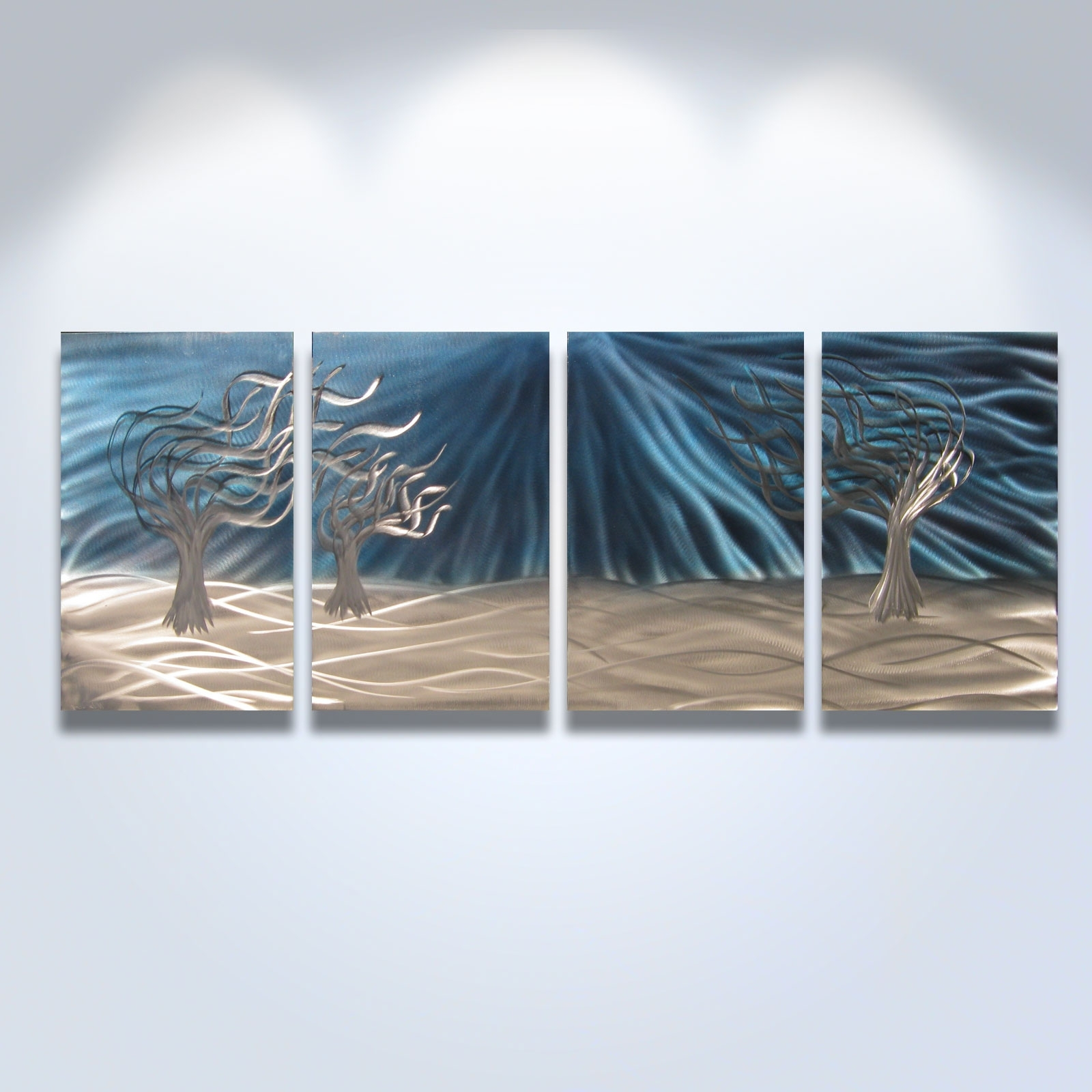Famous Blue And Silver Wall Art Within 3 Trees Blue – Abstract Metal Wall Art Contemporary Modern Decor (View 7 of 15)