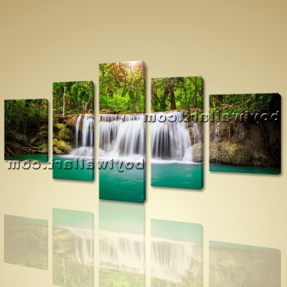 Famous Canvas Lake Hd Waterfall Landscape Tree Forest Sunset Glow Wall For Waterfall Wall Art (View 8 of 15)