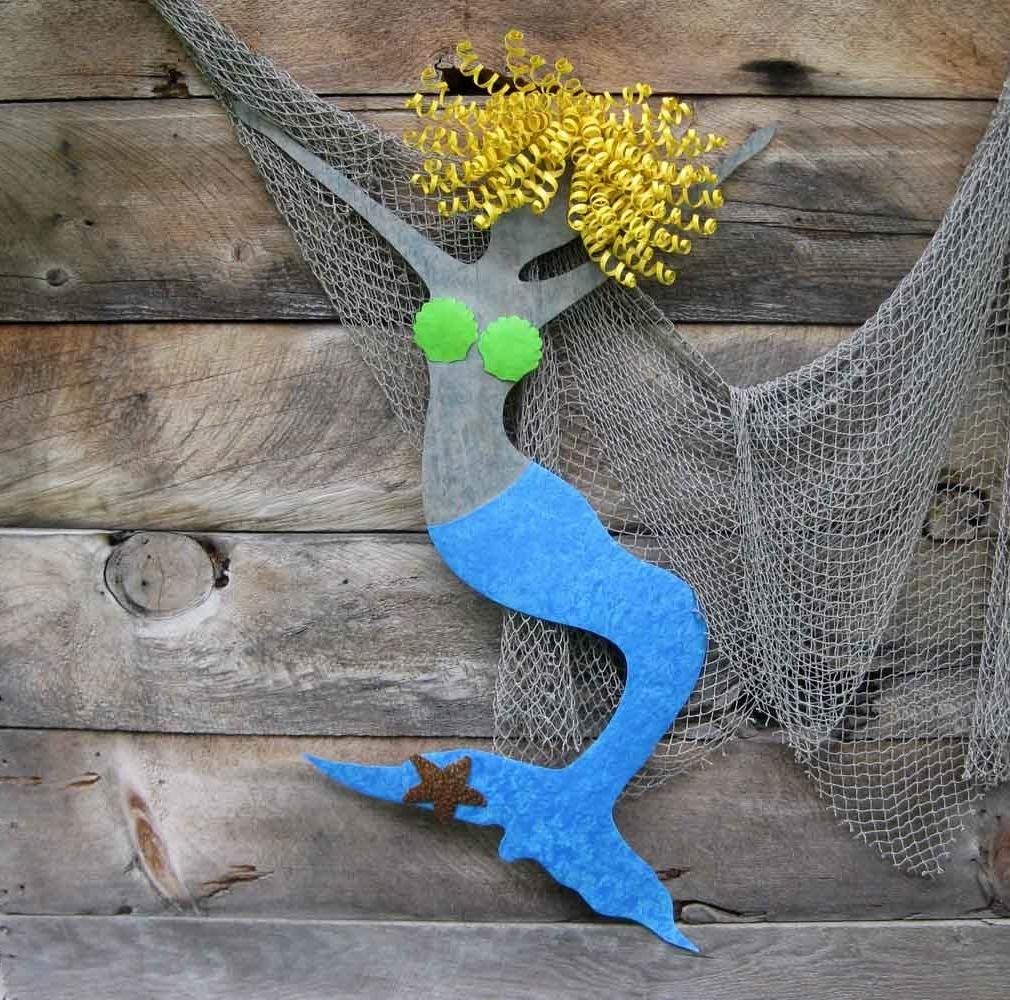 Famous Custom Made Mermaid Wall Metal Art Recycled Metal Ocean Decor Wall Intended For Mermaid Wood Wall Art (View 12 of 15)