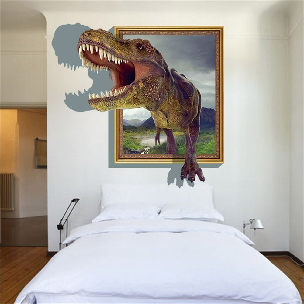 Famous Dinosaurs 3D Wall Art Throughout Sucis 3D Running Tyrannosaurus Rex Dinosaur Unique Removable Mural (View 11 of 15)