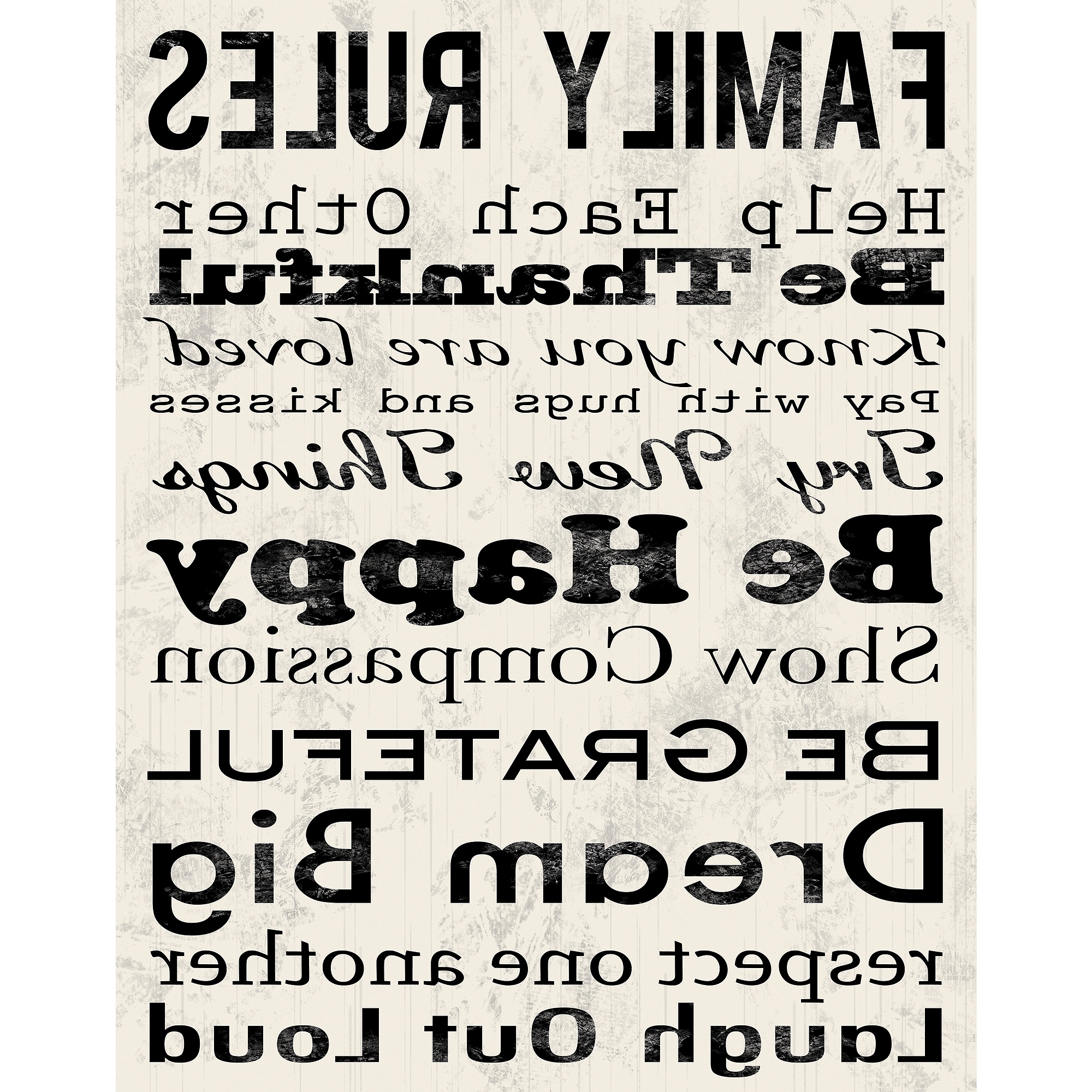 """Famous Family Rules B Canvas Wall Art, 15"""" X 19"""" – Walmart For Family Rules Canvas Wall Art (View 7 of 15)"""