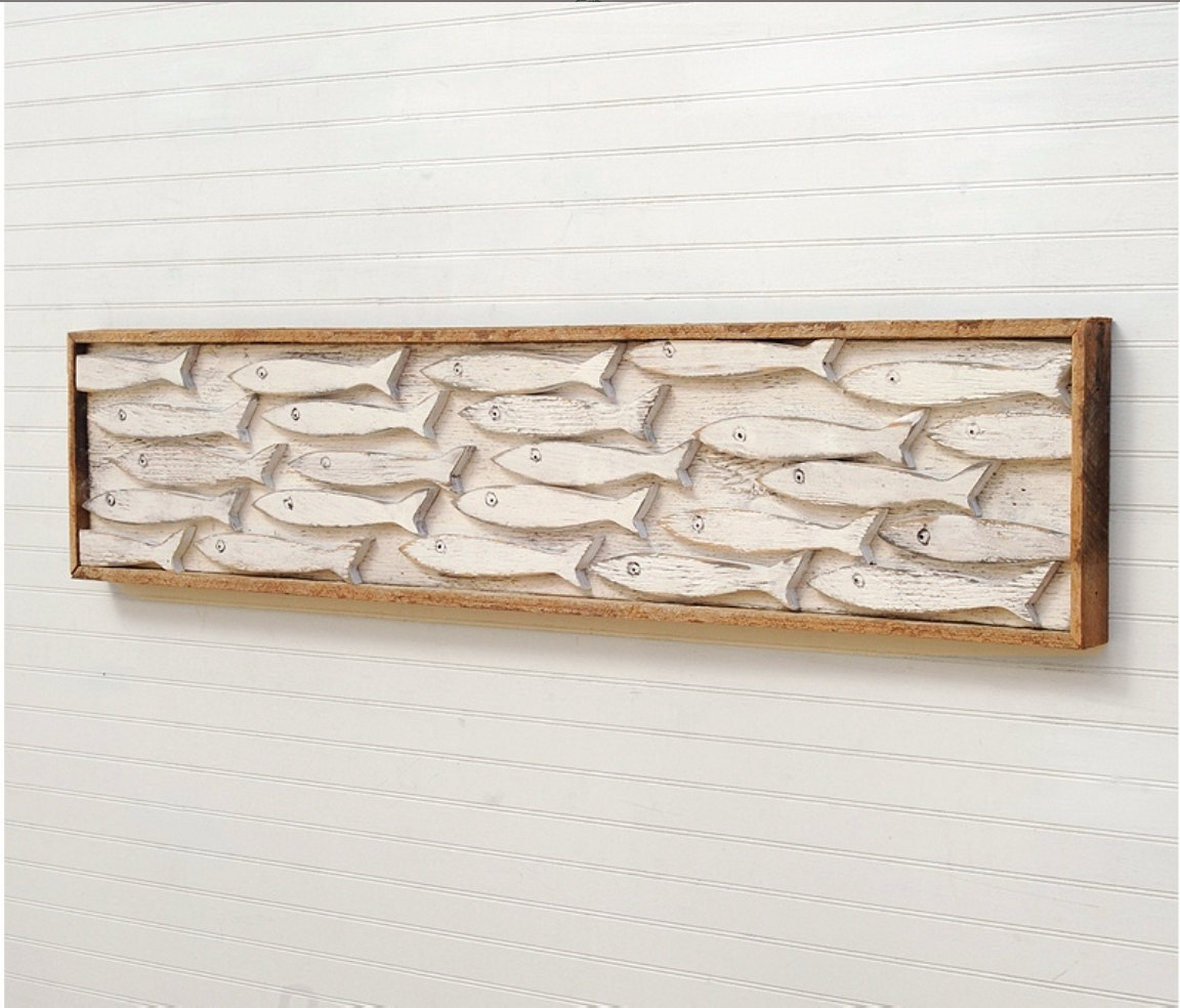 Famous Fish Bone Wall Art Intended For Cool Design Wooden Fish Wall Art Hand Carved Large Wood Tropical (View 1 of 15)
