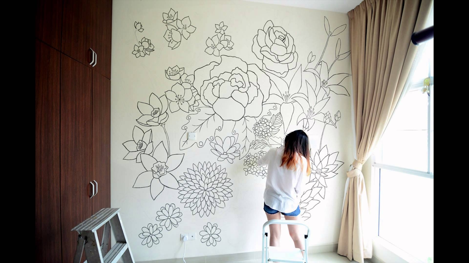 Famous Floral – A Sharpie Wall Mural – Youtube Pertaining To Sharpie Wall Art (View 3 of 15)