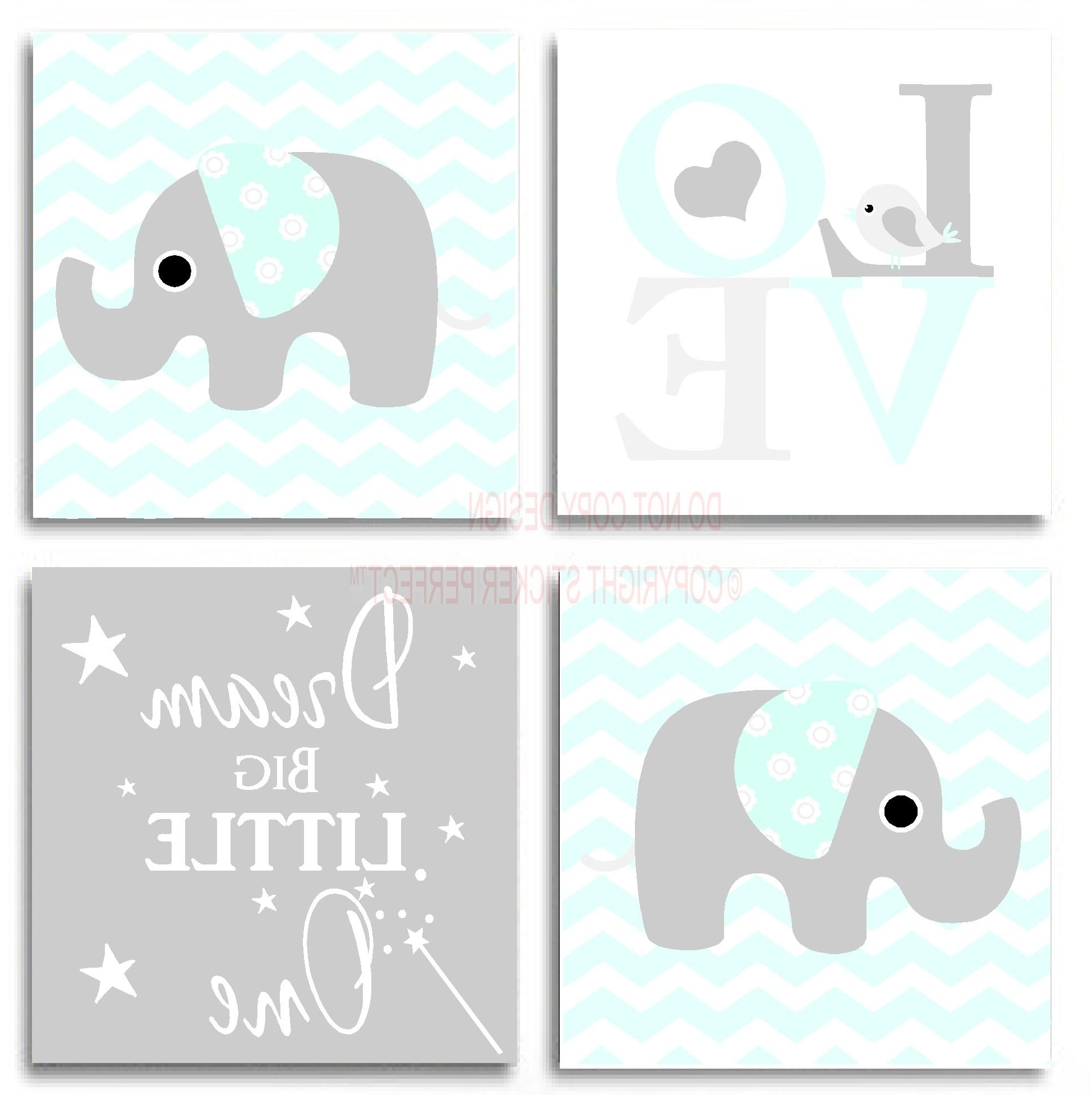 Famous Framed Wall Art Sayings In Framed Canvas Print Love 4 Piece Set Cute Elephant Bird (View 3 of 15)