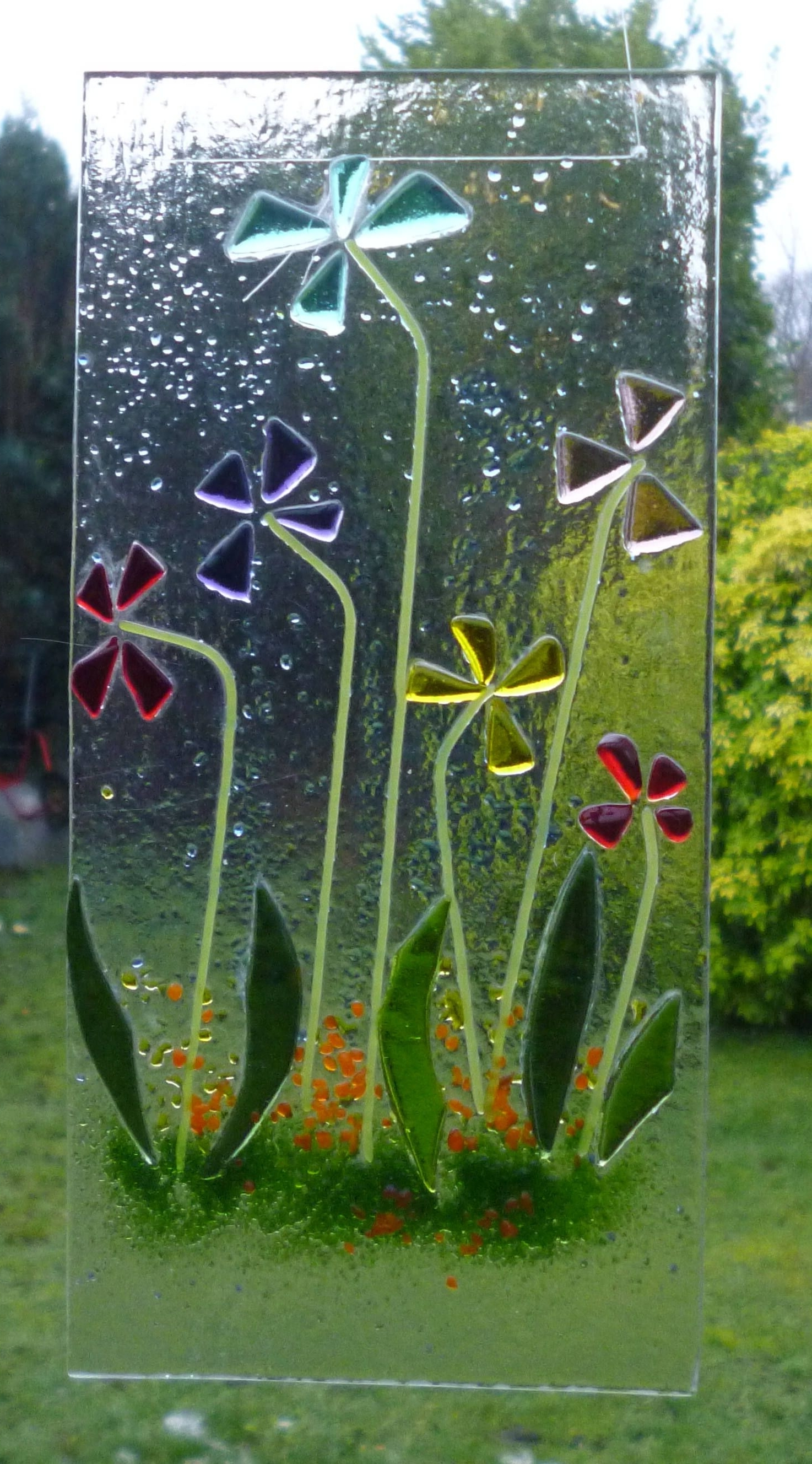 Famous Fused Glass Flower Wall Art Pertaining To Flower Fused Glass Flower Suncatcher (View 12 of 15)
