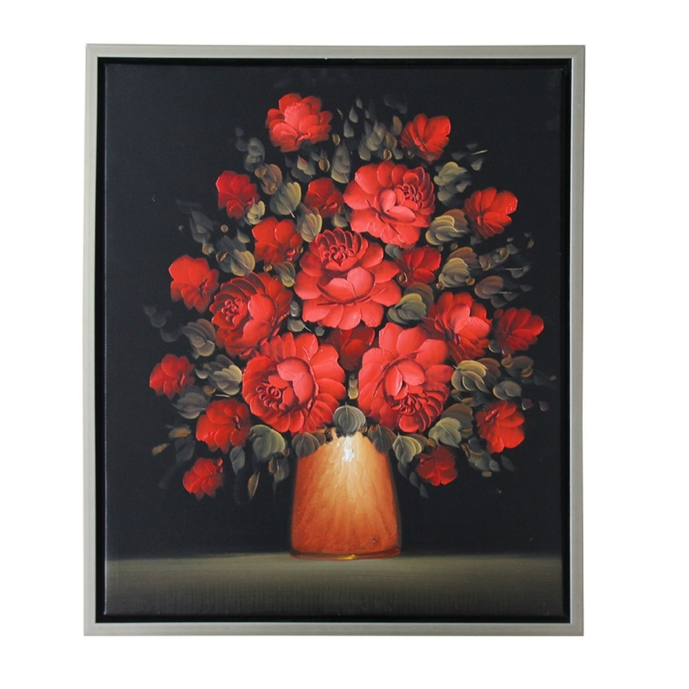 Famous Hand Painted Modern Abstract Beautiful Wall Art Black Red Rose Oil Inside Red Rose Wall Art (View 14 of 15)