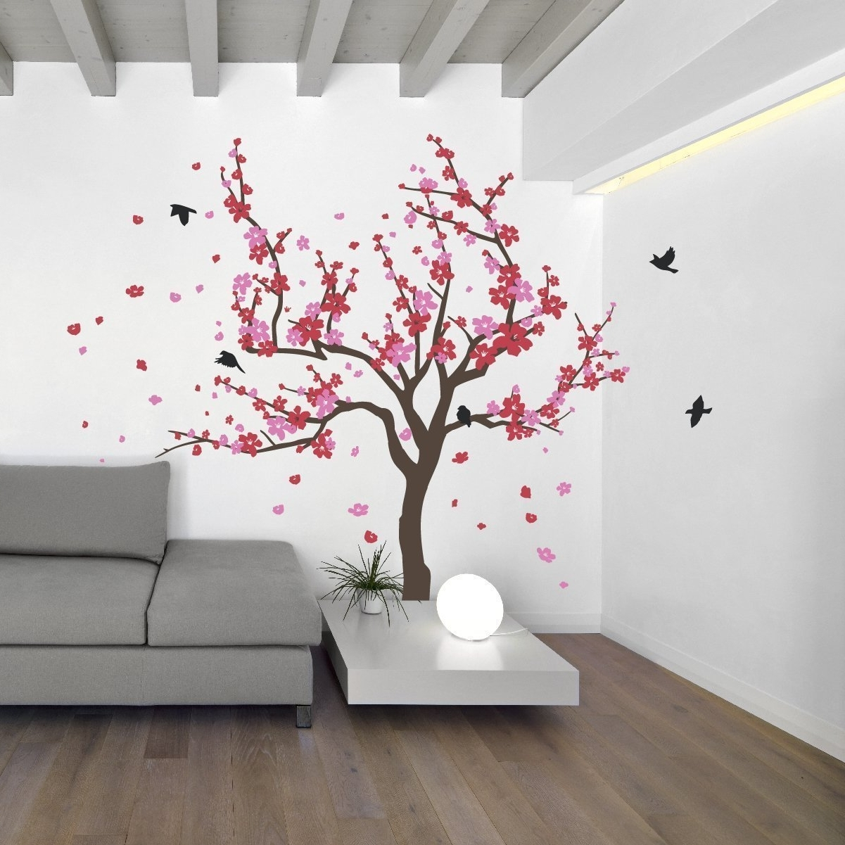 Famous Japanese Cherry Blossom Tree And Birds Wall Decal Sticker For With  Red Cherry Blossom Wall