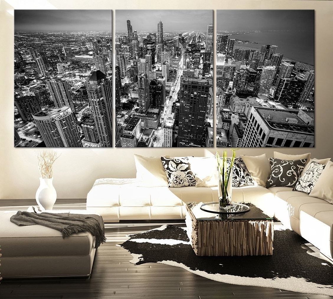 Famous Large Black And White Wall Art Intended For Large Wall Art Canvas Print Black And White Chicago Skyline –  (View 3 of 15)