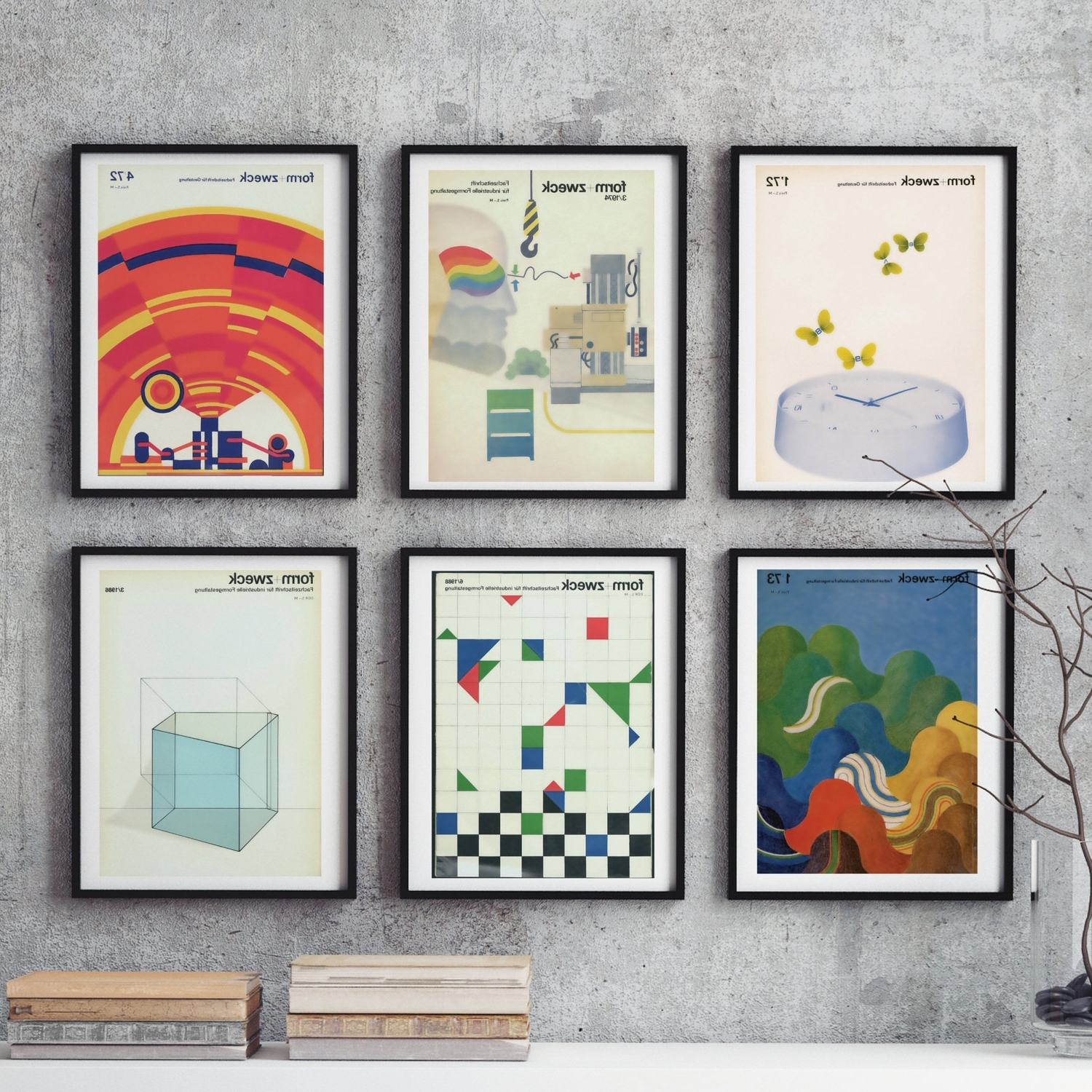 Famous Large Retro Wall Art Inside Bauhaus 6 Piece Large Wall Art Midcentury Graphic Design Gift Art (View 7 of 15)